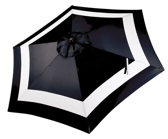 CANVAS Patio Market Umbrella, Black and White Stripe, 9-ft Product image