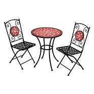 Ensemble bistro de jardin Home Collection, rouge, 3 pièces