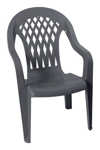 Lattice Back Resin Chair, Grey Product image