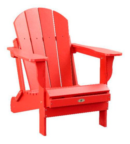 Patio Leisure Line Recycled Plastic Folding Adirondack Chair, Red Product image