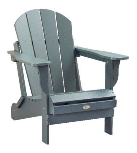 Patio Leisure Line Recycled Plastic Folding Adirondack Chair, Grey Product image
