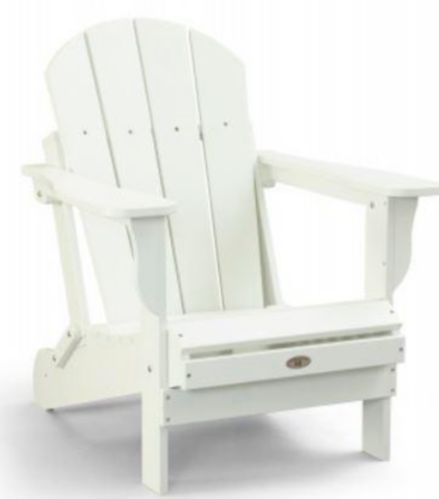 Patio Leisure Line Recycled Plastic Folding Adirondack Chair, White Product image
