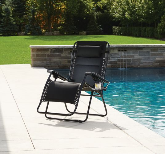 For Living Black Padded Mesh XL Zero Gravity Chair Product image
