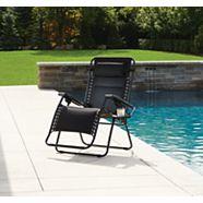 For Living Black Padded Mesh XL Zero Gravity Chair