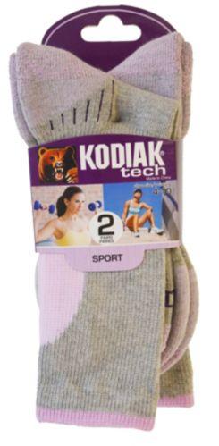 Kodiak Women's Tech Crew Socks, Grey/Pink, 2-pk Product image