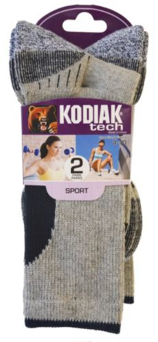 Kodiak Women's Tech Crew Socks, Grey/Black, 2-pk Product image
