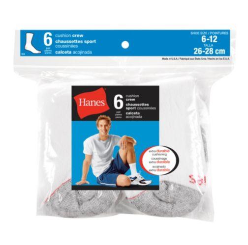 Hanes Men's Crew Socks, White, 6-pk Product image