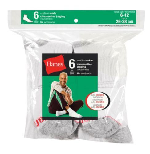 Hanes Men's Ankle Socks, White, 6-pk Product image