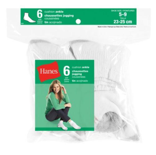 Socquettes Hanes, dame, blanc, paq. 6 Image de l'article