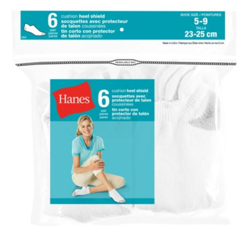 Hanes Women's White Heel Shield Socks, 6-pk Product image