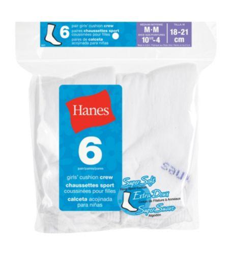 Hanes Girl's White Crew Socks, 6-pk Product image