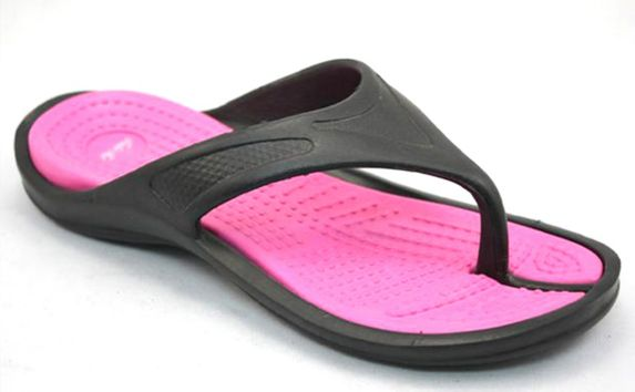 Women's Black and Fuchsia Thong Sandals Product image