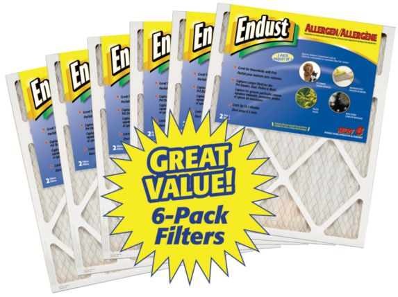 Endust Allergen Furnace Filter, 16-in x 25-in, 6-pk Product image