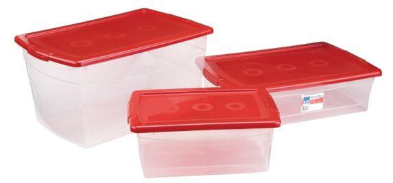 Bac polyvalent à couvercle rouge, transparent, 50 L Image de l'article