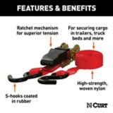 CURT 10-ft Red Cargo Straps with S-Hooks (500-lb, 2-pk) | CURTnull
