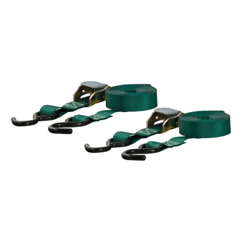 CURT 15-ft Dark Green Cargo Straps with S-Hooks (300-lb, 2-pk) Product image