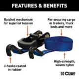 CURT 16-ft Blue Cargo Strap with J-Hooks (733-lb) | CURTnull