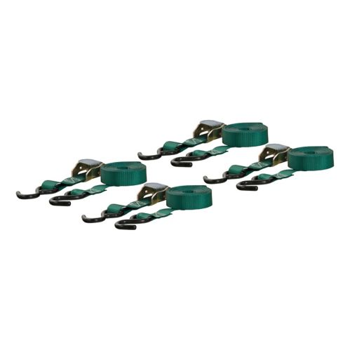 CURT 16-ft Dark Green Cargo Straps with S-Hooks (300-lb, 4-pk) Product image