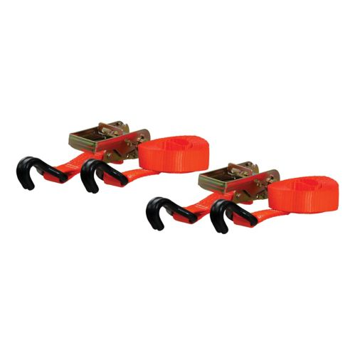 CURT 16-ft Orange Cargo Straps with J-Hooks (1,100-lb, 2-pk) Product image
