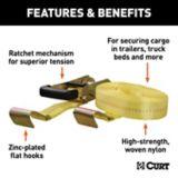 Sangle cargo avec crochets plats CURT, jaune 27 pi (3333 lb) | CURTnull