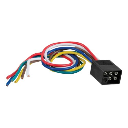 CURT 6-Way Square Connector Plug with 12-in Wires (Trailer Side) Product image
