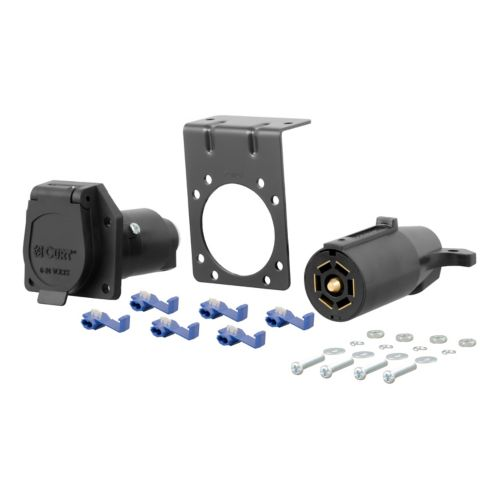 CURT 7-Way Blade Connector Plug & Socket with Hardware (Packaged) Product image