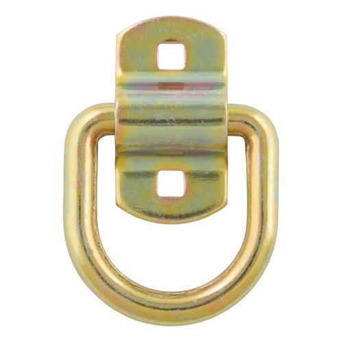 CURT 3-in x 3-in Surface-Mounted Tie-Down D-Ring (3600-lb, Yellow Zinc) Product image