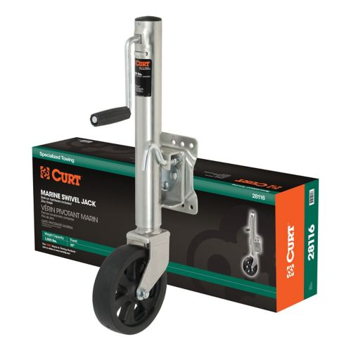 CURT Marine Jack with 8-in Wheel (1,500-lb, 10-in Travel, Packaged) Product image