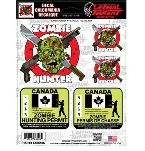 Décalcomanies, chasseur de zombies, 6 x 8 po