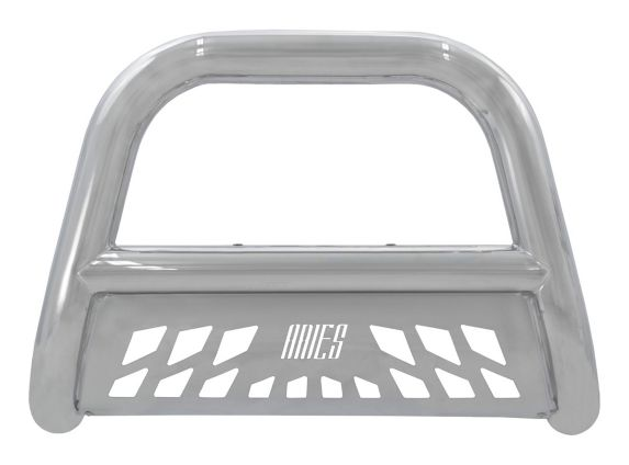 Aries Big Horn Bull Bar, Stainless with SS Skid Plate, 4-in Product image