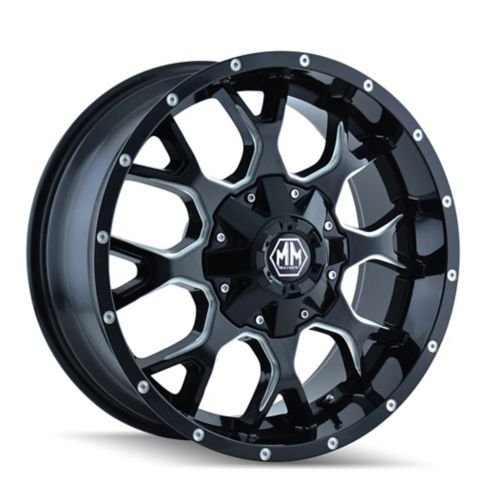 Mayhem Warrior 8015 A Alloy Wheel, Black with Milled Spoke