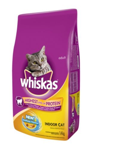Whiskas Indoor Cat Dry Cat Food with Seafood, 1.4-kg