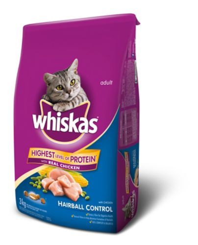 Whiskas Hairball Control Dry Cat Food, 3-kg Product image