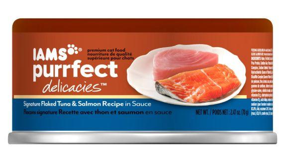 Iams Purrfect Delicacies, thon et saumon, 2,5 oz