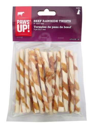 PAWS UP! Beef Rawhide Twists, 5-in, 25-pk