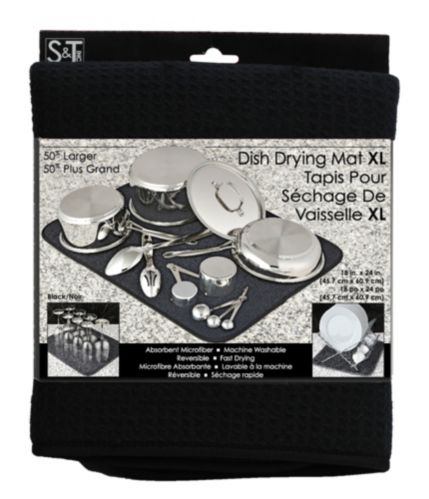 Tapis pour sécher la vaisselle s&t, très grand, noir