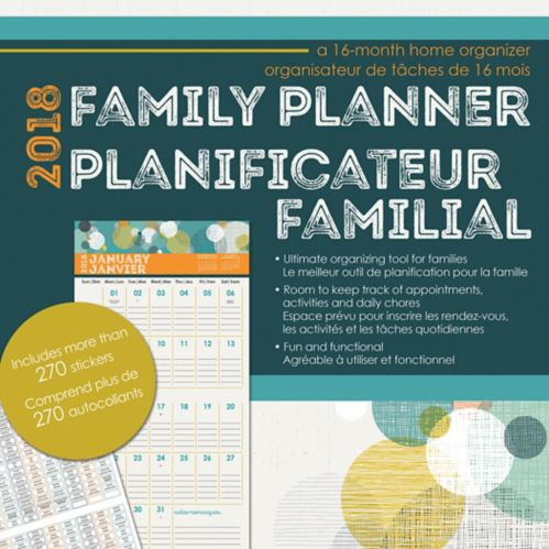 2018 Family Planner Wall Calendar, Bilingual Product image