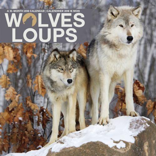 Calendrier mural 2018 avec thématique de loups, 16 mois, bilingue Image de l'article