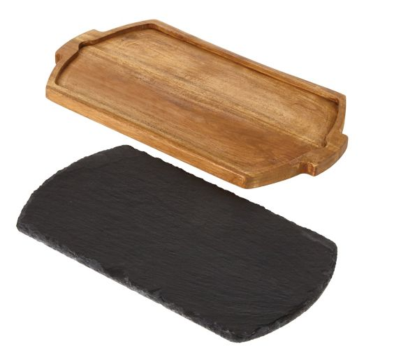 CANVAS Acacia Wood Serving Board with Slate Insert