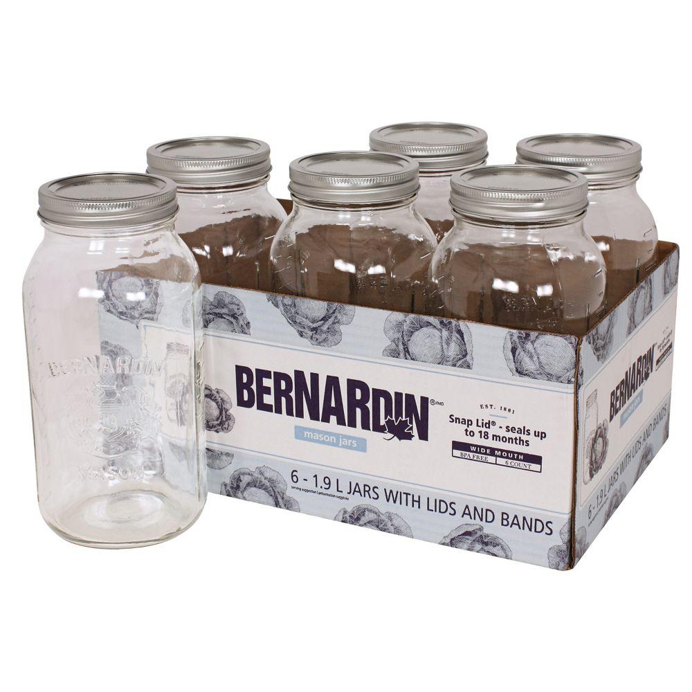 Bernardin Regular Mason Jars, 1.9-L, 6-pk