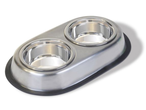 Stainless Steel Double Diner Dog Bowl, 1.89-L Product image