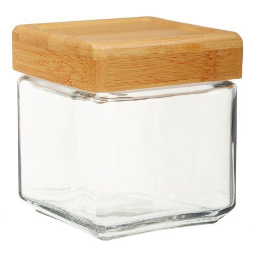 Square Bamboo Lid Jar, 1-qt