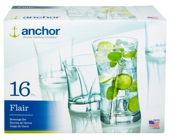 Anchor Hocking Flair Glassware Set, 16-pc Product image