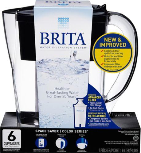 Pichet de filtration d'eau Brita mince, noir, 6 tasses Image de l'article