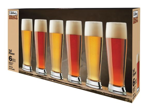 Libbey Craft Brews Tall Pilsner Glassware Set, 6-pc