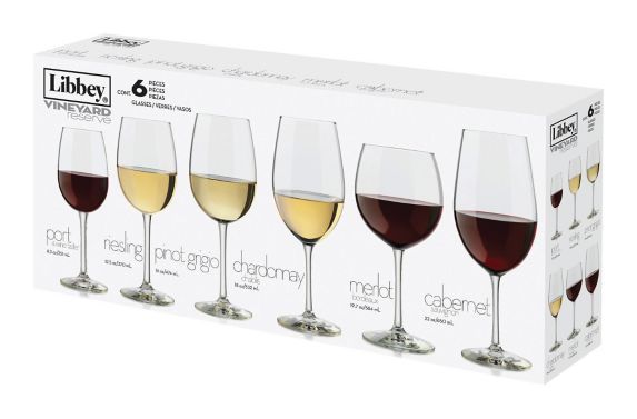 Libbey Vineyard Reserve Wine Glasses, Assorted, 6-pc