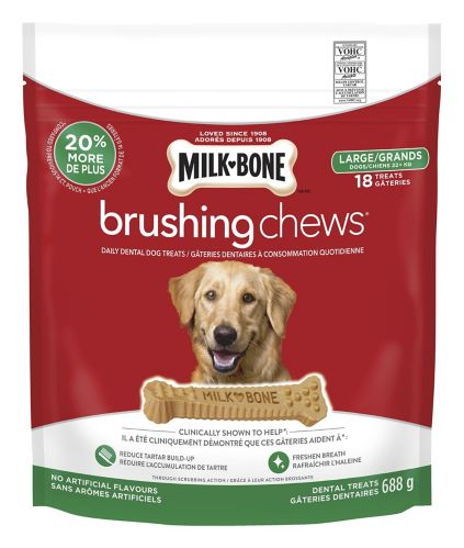 Gâteries dentaires à mâcher pour chiens Milk-Bone Brushing Chews, grande race