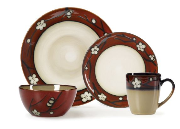 Red Floral Dinnerware Set, 16-Pc Product image