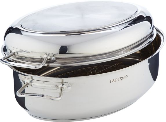 PADERNO Stainless Steel Multi-Roaster with Removable Rack, 16.5-in
