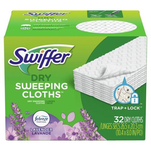 Recharge de linges secs pour balai Swiffer Sweeper, lavande, paq. 32